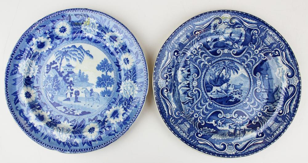 2 Staffordshire plates with quadruped decoration