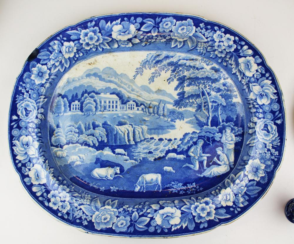 19th c. Staffordshire porcelain quadruped platter