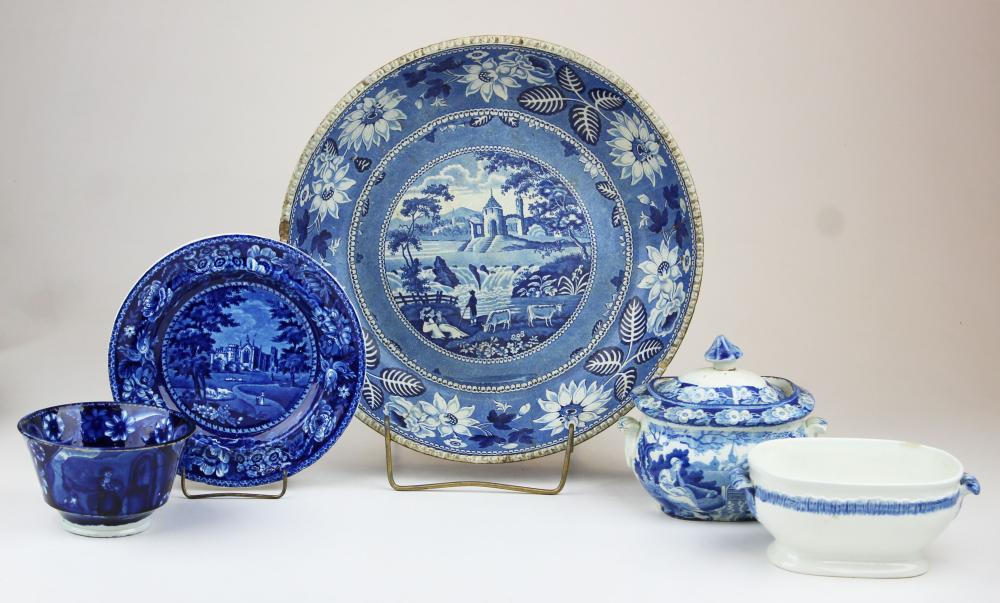 5 pcs. deep blue Staffordshire and early porcelain
