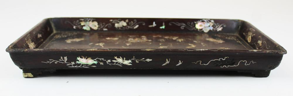 early 20th c Chinese mother of pearl inlaid tray