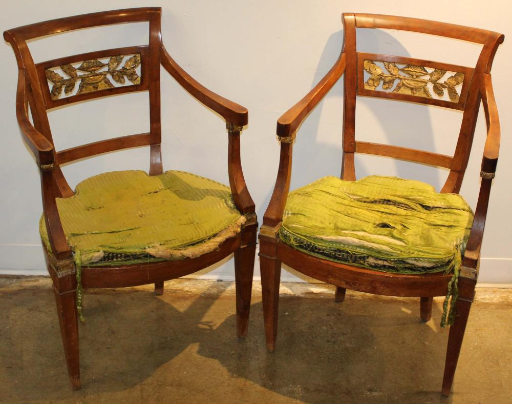 set of 6 Neoclassical carved & gilt armchairs