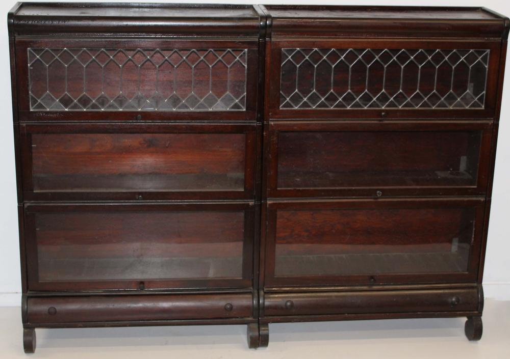 pair of leaded glass door stacking bookcases