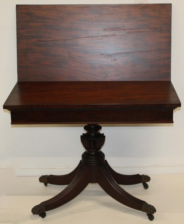 Empire reeded leg mahogany card table