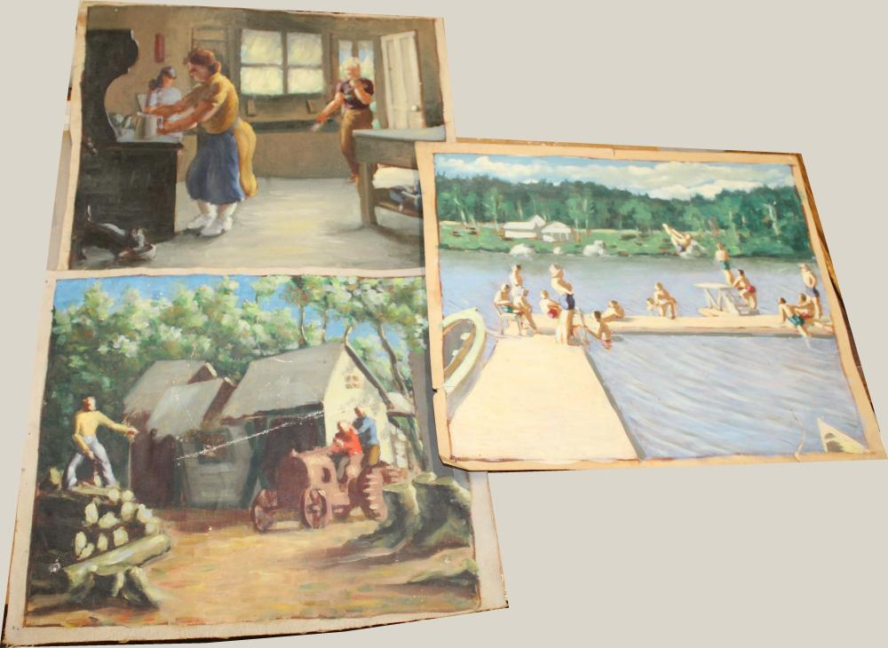 Three unsigned oil paintings