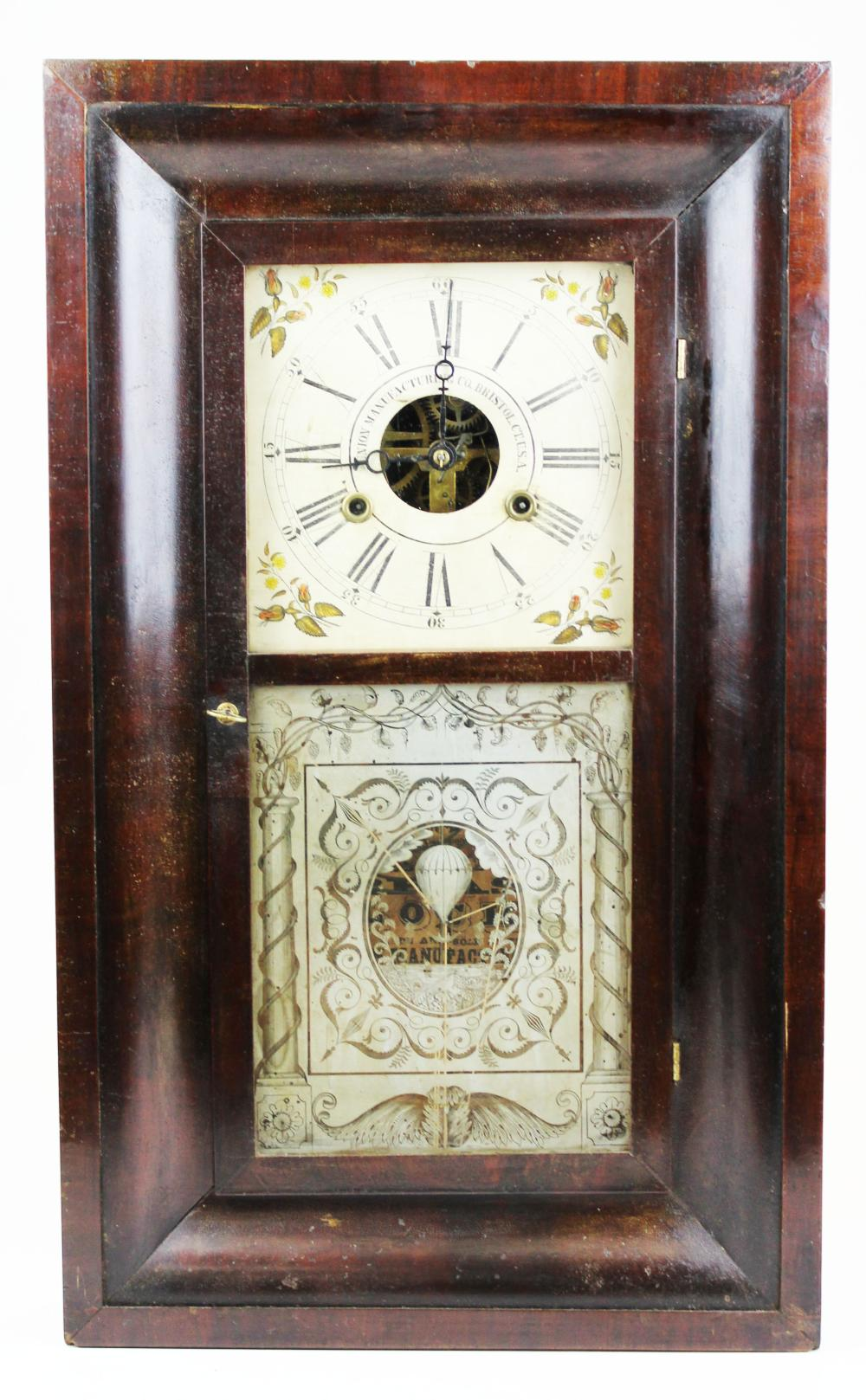 Union Mfg Co clock w/ hot air balloon belly door