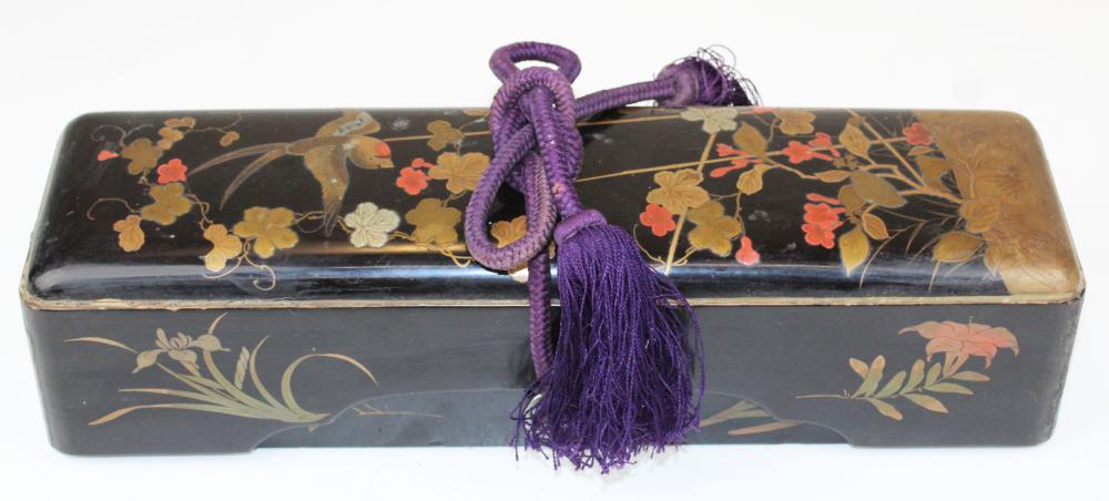 Japanese Meiji lacquered document box