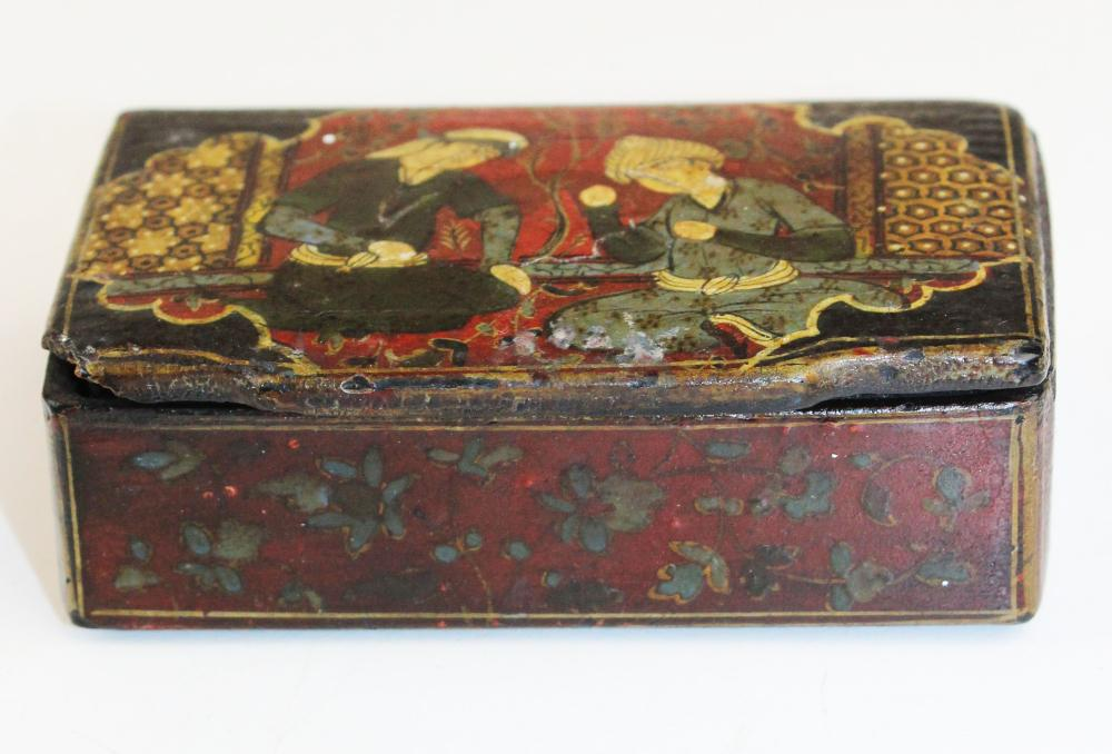 late 19th c Persian painted paper mache snuff box