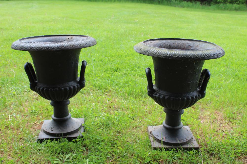 pr of early 20th c cast iron garden urns