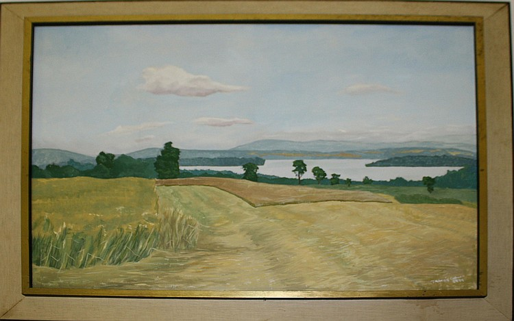 1974 Francis Peabody Colburn (Am 1909-1984) signed oil on canvas Caspian Lake, VT summer landscape 24x30