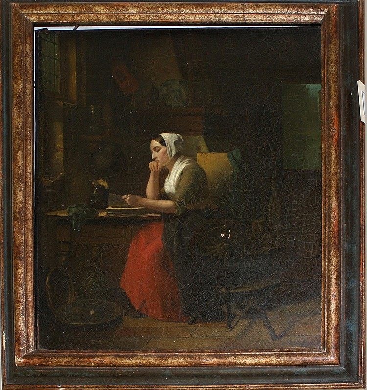 Ca 1880 Pieter Jan Onderberg (Dutch 1821-1890) oil on canvas interior genre scene w/ woman reading laid onto masonite board 25x20