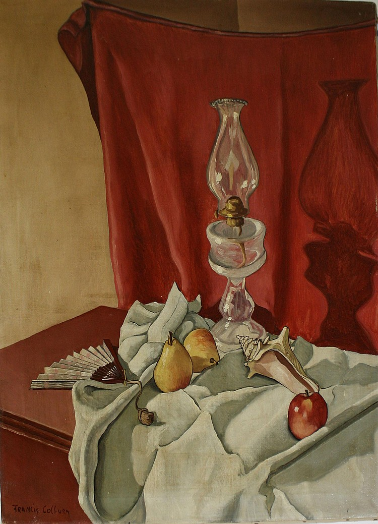 Francis Peabody Colburn (Am 1909-1984) signed oil on canvas still life table setting w/ oil lamp 30x25