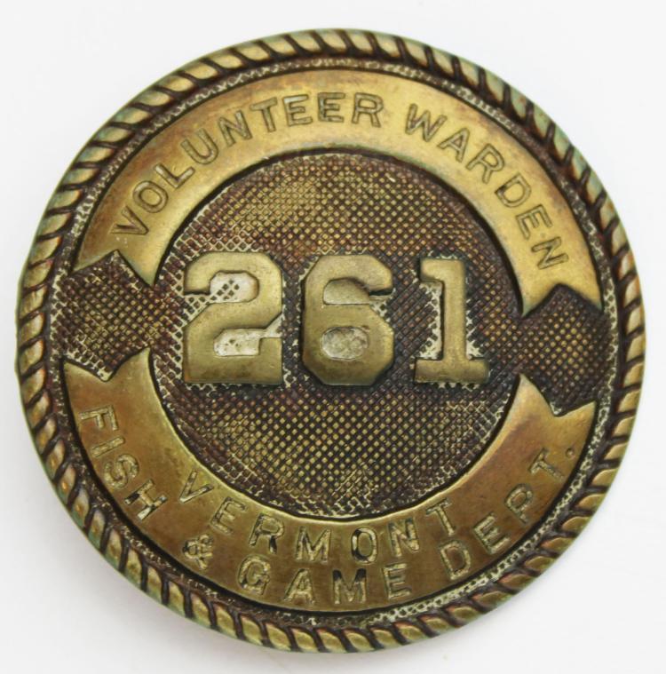 Vermont Fish & Game Volunteer Warden badge