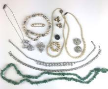 Lot of costume & jade jewelry.