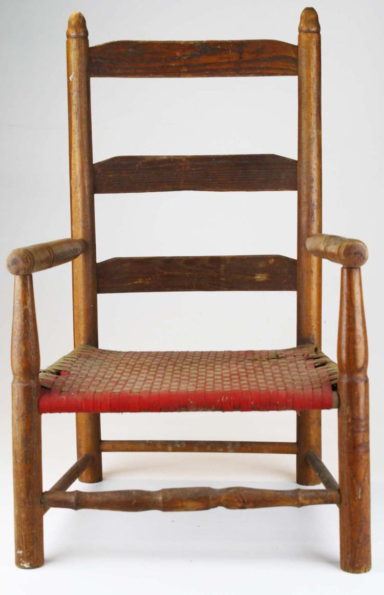 Early 19th C Child 39 S Chair W Tab Seat