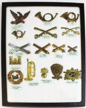 Civil War era hat badge collection (16 pcs)