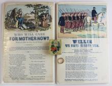 Civil War Magnus song sheets, mourning ring