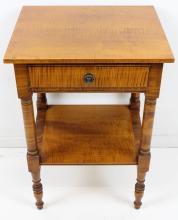 Eldred Wheeler tiger maple one drawer stand