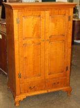 Eldred Wheeler tiger maple linen press cupboard