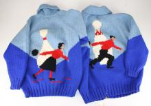 vintage Mary Maxim bowling sweater jackets