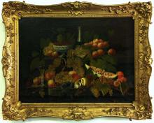 Severin Roesen (AM 1815-72) Fruit & Champagne