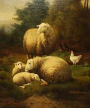 AR Dewing (19th c) Pastoral with sheep