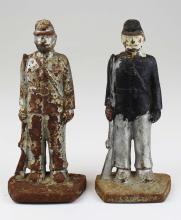 two Civil war soldier doorstops