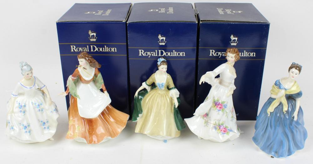 5 Royal Doulton Porcelain Lady Figurines