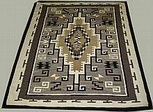 ca. 1940's Navajo Two Grey Hills blanket- hand