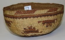 Chumash/ Hupa basket w/ hat, dia. 7
