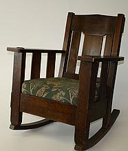 Stickley and Brandt oak Arts and Crafts rocker