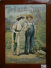 1914 Rice's Seeds Cambridge, NY oak framed paper