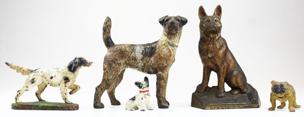 Several Vintage Cast Iron Dog Doorstops Figures