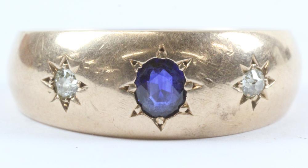 Men's Diamond & Sapphire Ring