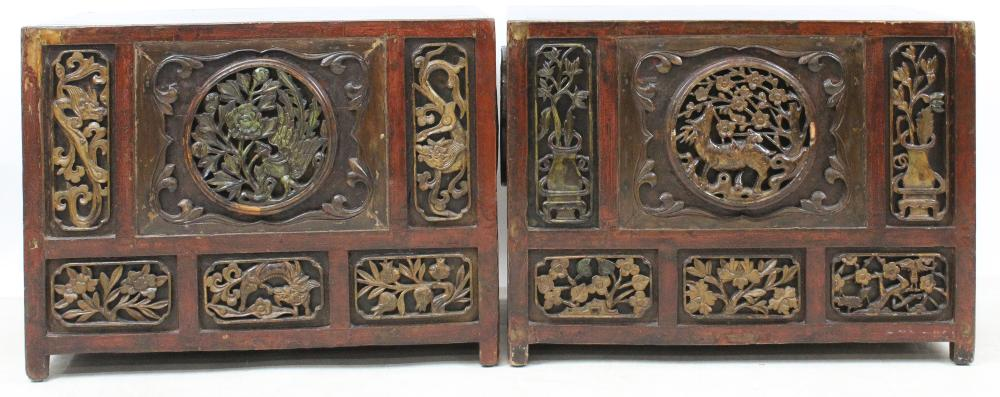 Pair of Chinese Carved Chests