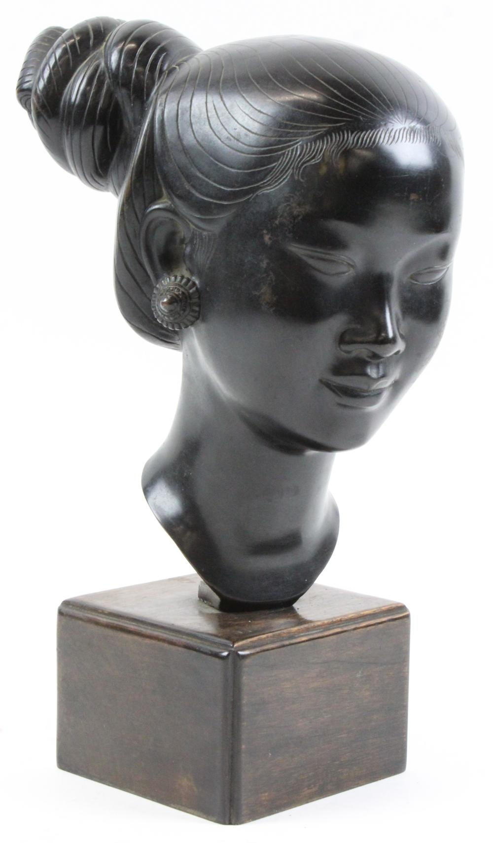 Asian Bronze Bust of a Young Woman