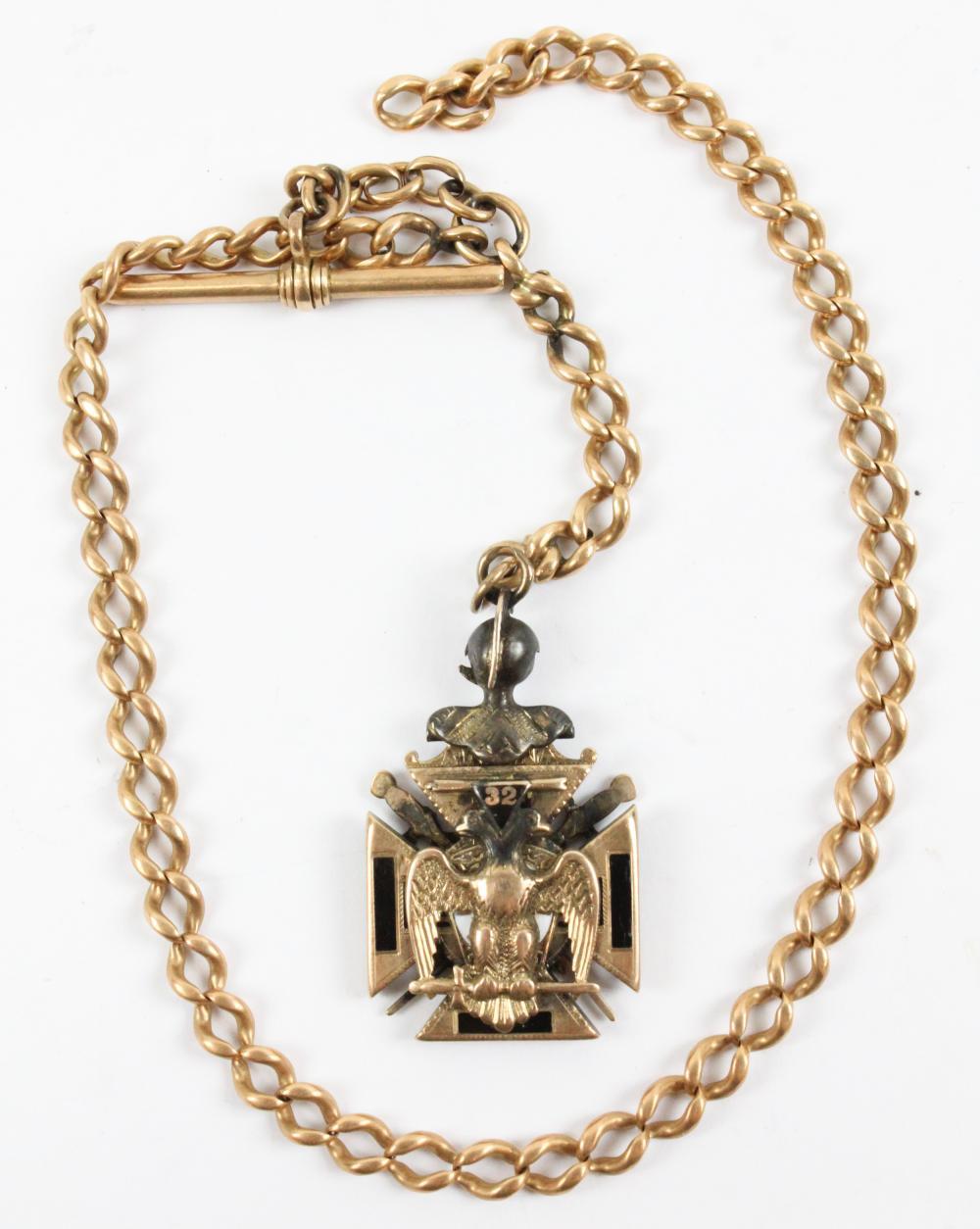 Masonic 14k, Diamond, Ruby, Fob