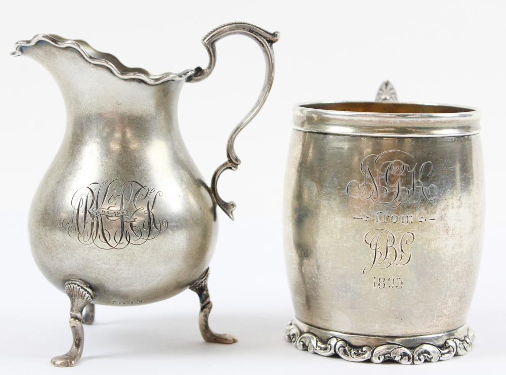 Tiffany and Co. Sterling Creamer, Birks Mug