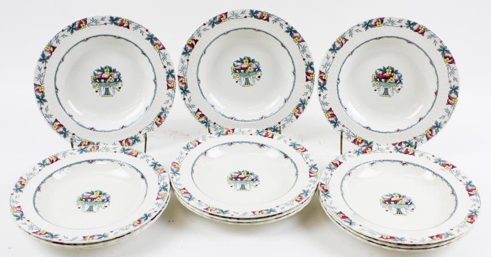 12 Minton Stanhope English Porcelain Soup Bowls