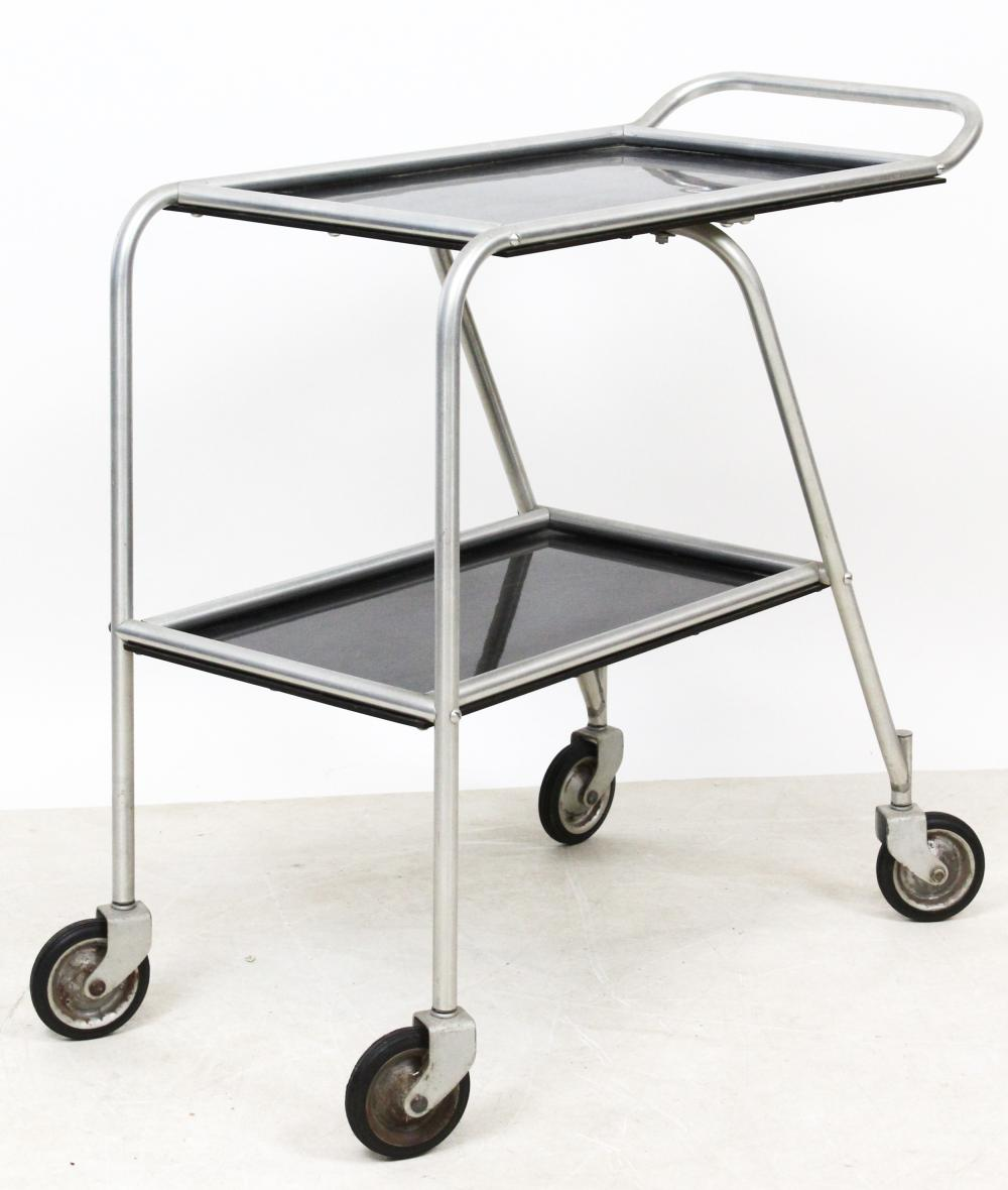 Early DC-3 Aluminum Cocktail Serving Cart