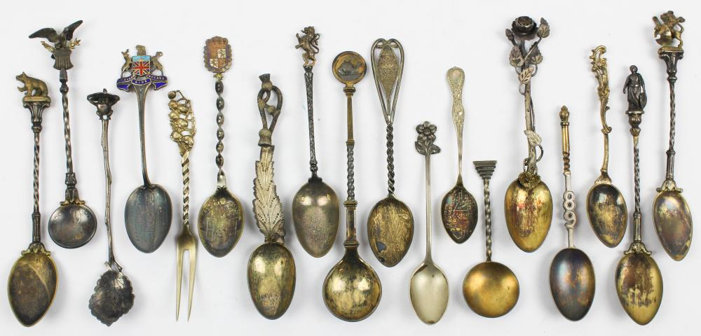 18 Coin and Sterling Silver Souvenir Spoons