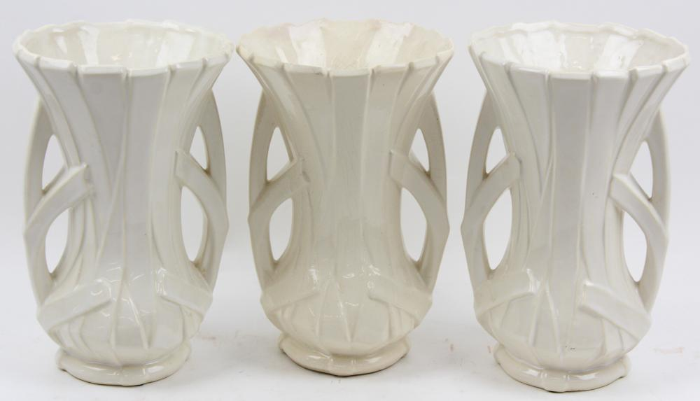 3 McCoy White Art Pottery Strap Vases