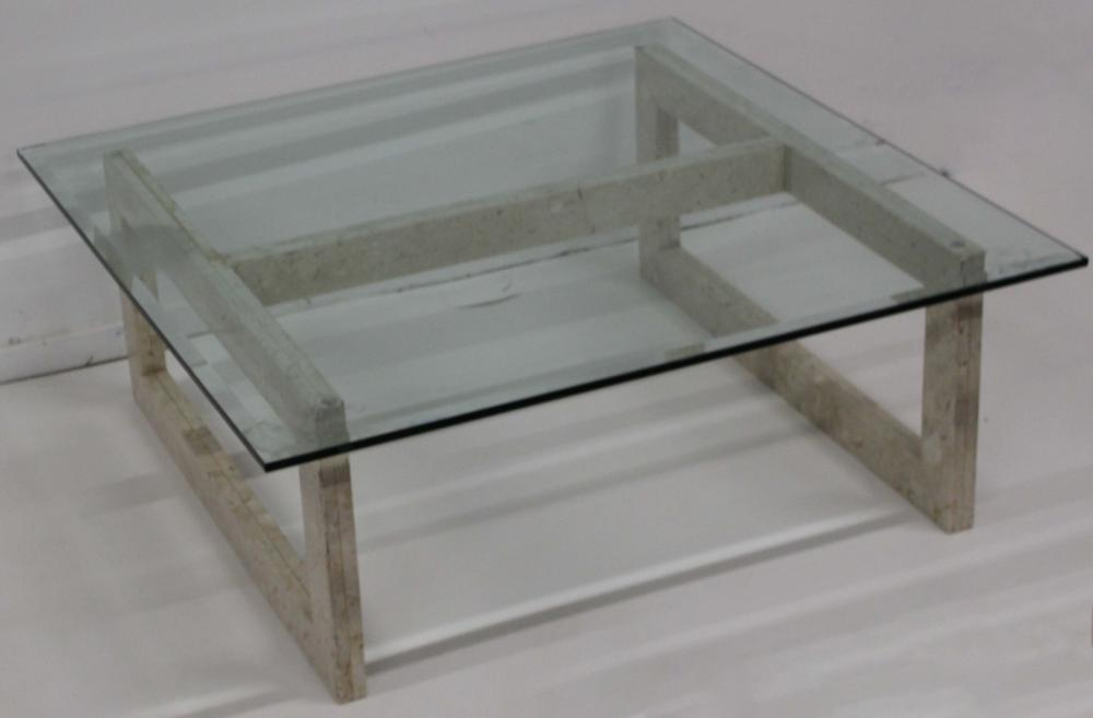 Modern glass top marble base coffee table