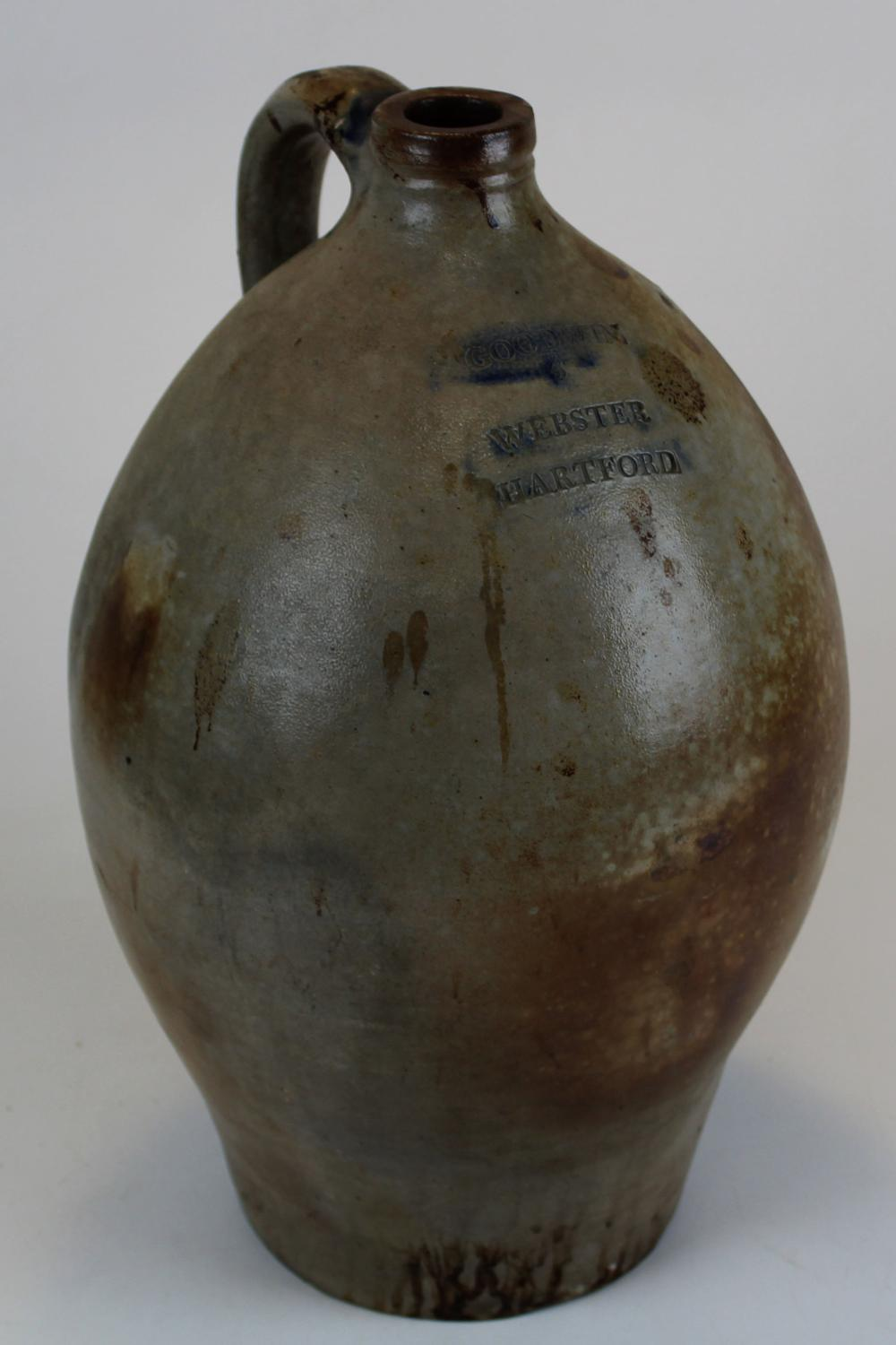 Goodwin and Webster, Hartford, CT approx. 2-3 gallon ovoid stoneware jug.