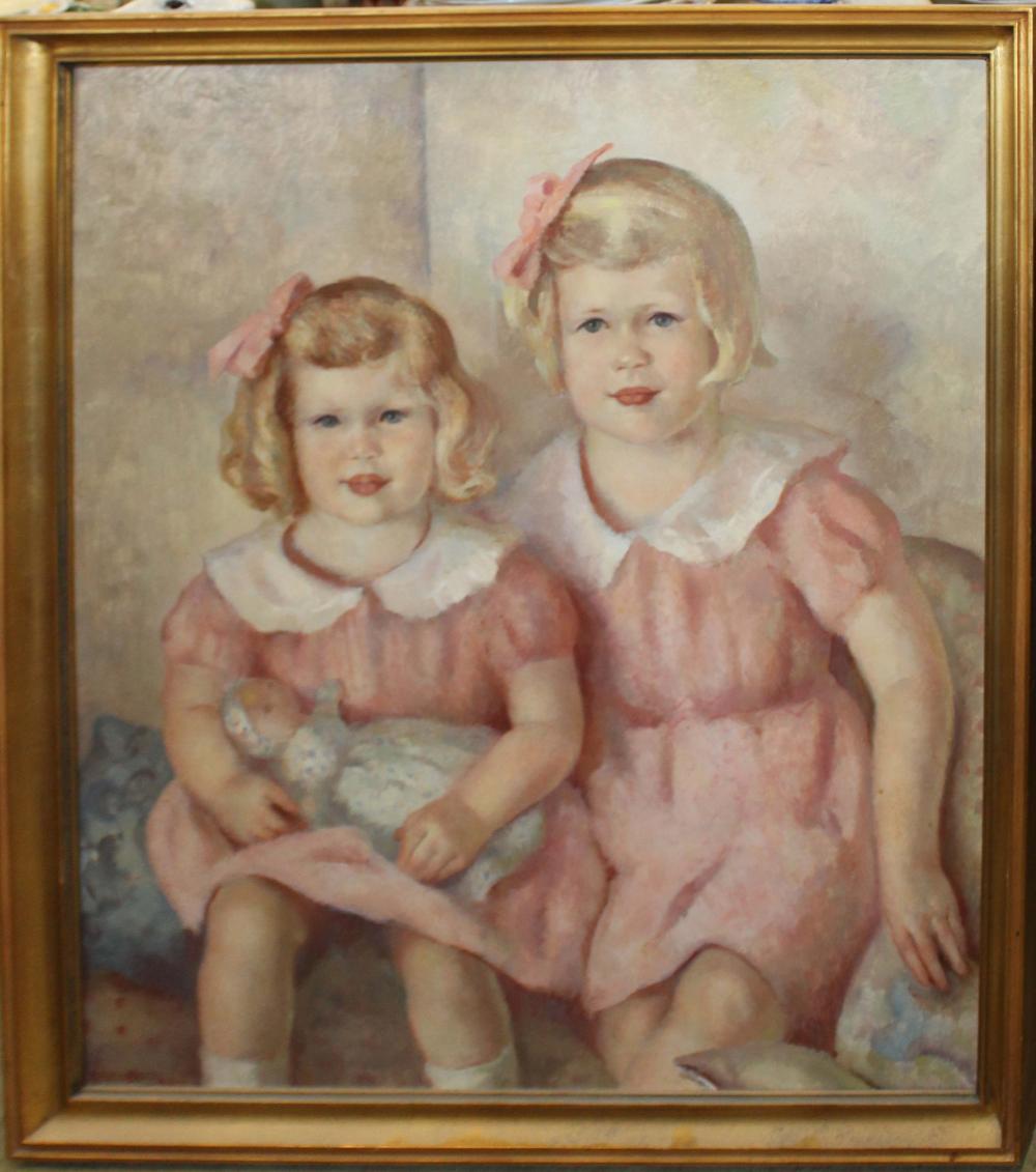 Natalie Beach (Am 20th c ) Portrait of two girls