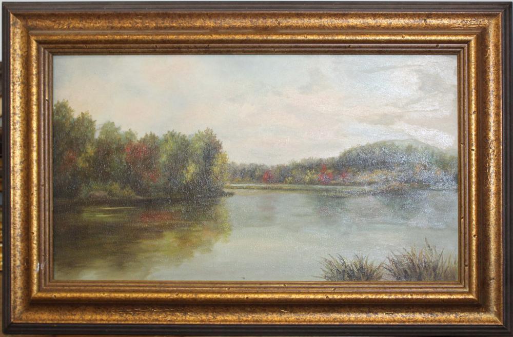 Hudson River School river scene