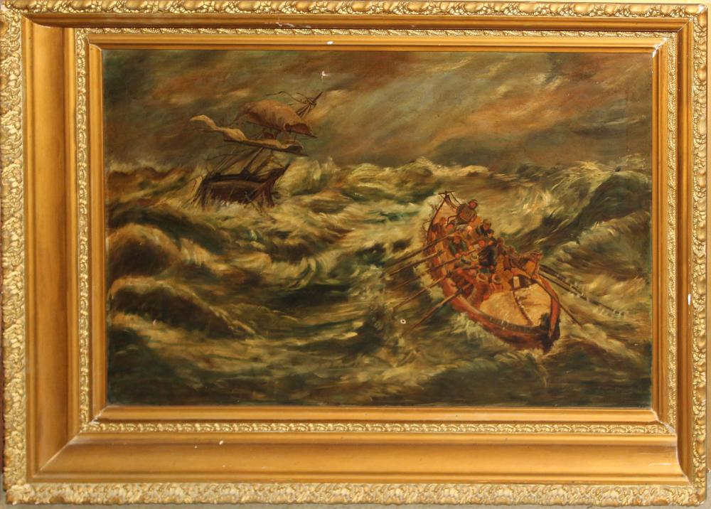 19th c oil on canvas of Ship in Storm
