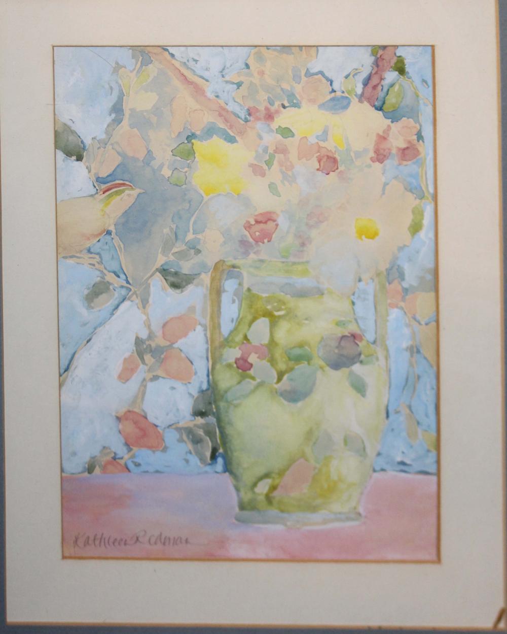 Kathleen Redman (Am 20th ) Still life with vase