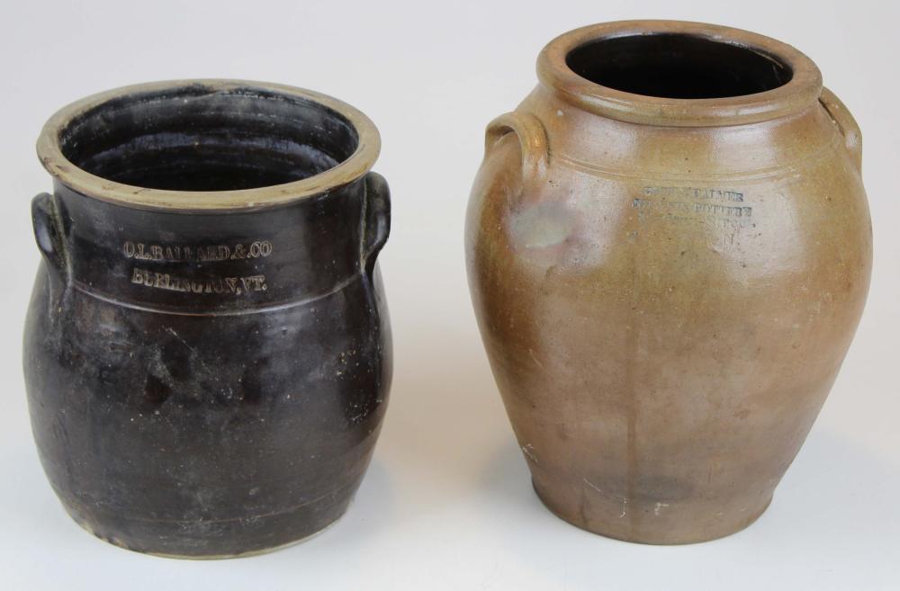 Gott and Palmer Phoenix Pottery, Hudson Street, Albany, NY stoneware crock, and O.L. Ballard and Co, Burlington, VT Stoneware Crock