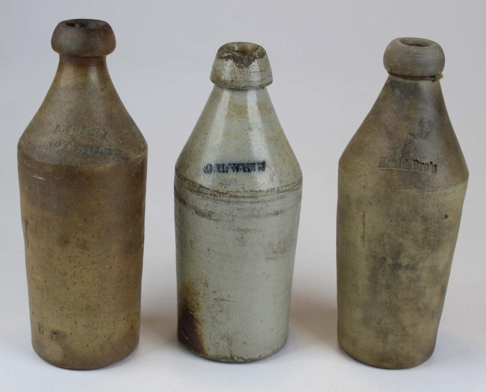 3 Stoneware Ginger Beer Bottles