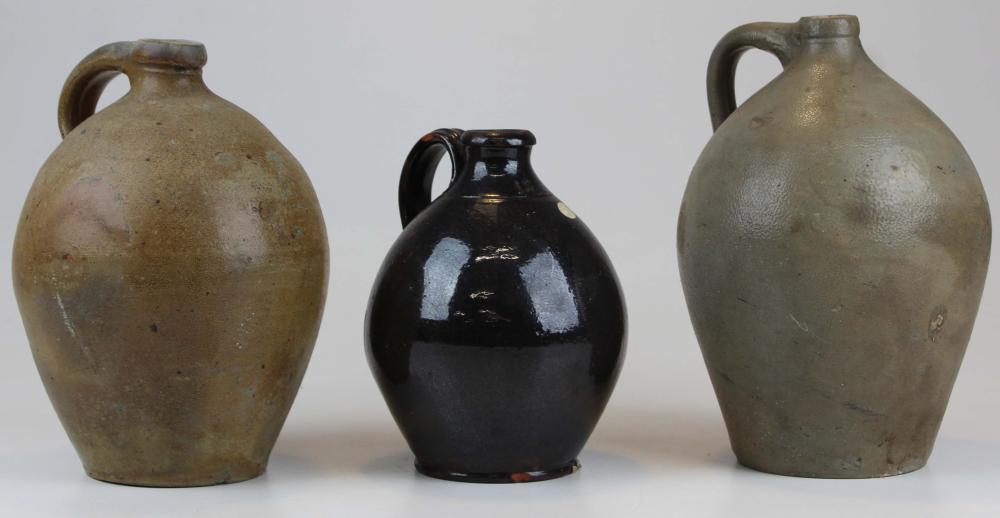 3 Ovoid Stoneware Jugs